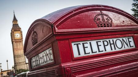 british culture: Red telephone box and Big Ben, London, UK Stock Photo