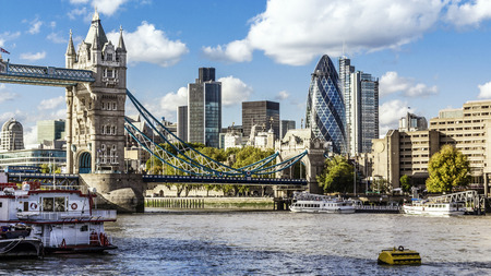 london tower bridge: Financial District of London and the Tower Bridge Stock Photo
