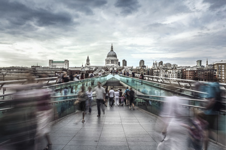 Millennium Bridge leads to Saint Pauls Cathedral in central London