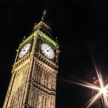 typically english: Big Ben by night, London Stock Photo