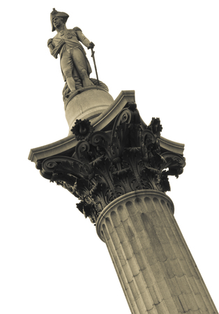 trafalgar: Nelsons Column rises to nearly 185 feet in the centre of Trafalgar Square and was erected to celebrate his great victory at Trafalgar over Napoleon in 1805