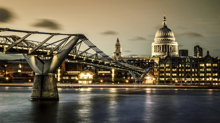 City of London, Millennium bridge and St. Paul's cathedral by night