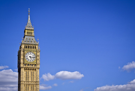 typically english: Big Ben in the summer with copy space.