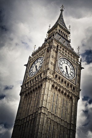 victorian architecture: Big Ben against cloudy sky