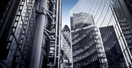 Famous skysrcapers in the financial district of London