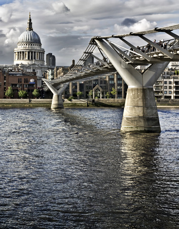 typically english: St. Pauls cathedral and the Millennium bridge, London Stock Photo