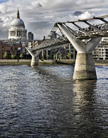 millennium bridge: St. Pauls cathedral and the Millennium bridge, London Stock Photo