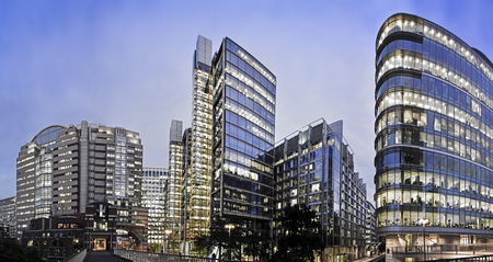 city scene: Office buildings, Panoramic shot part of Londons Financial district Stock Photo