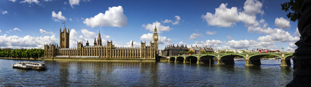 Panoramic picture of Houses of Parliament, Big Ben and Westminster Bridge, London Stock Photo