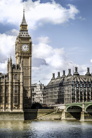 london big ben: Houses of Parliament at summer time, London, UK. Stock Photo
