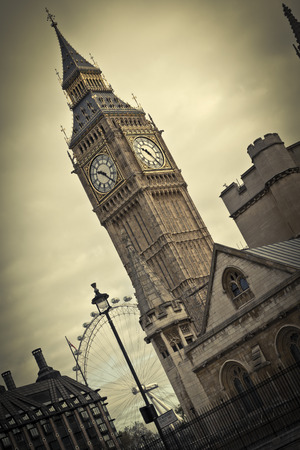victorian architecture: Big Ben and the London Eye in the background.