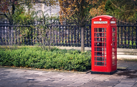 red box: Classic red British telephone box in London