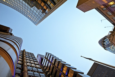 lloyds london: Famous skysrcapers in the financial district of London