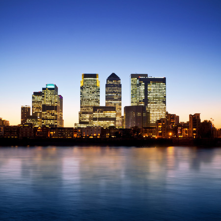 london skyline: Canary Wharf at dusk, Famous skyscrapers of Londons financial district at twilight. This view include