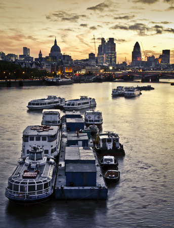 blackfriars bridge: London at dawn. St Pauls Cathedral and financial district, Tower 42, Gerhkin, Blackfriars Bridge Stock Photo