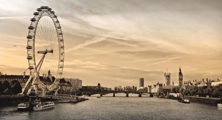 big wheel: London . London eye, County Hall, Westminster Bridge, Big Ben and Houses of Parliament.