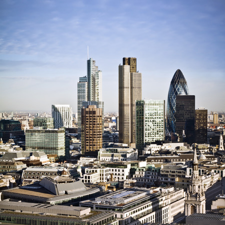 City of London one of the leading centres of global finance. This view includes Tower 42, Gherkin,Willis Building, Stock Exchange Tower, Lloyds of London and Canary Wharf at the background.