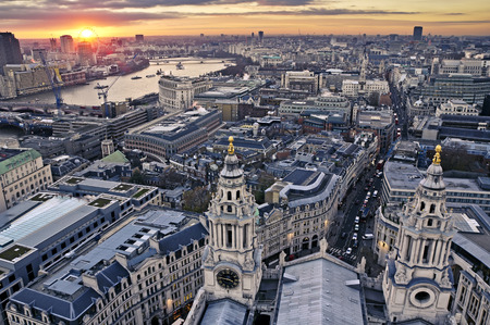london skyline: London at twilight view from St. Pauls Cathedral Stock Photo