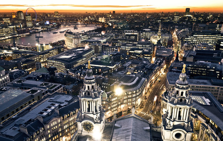 london street: London at twilight view from St. Pauls Cathedral Stock Photo