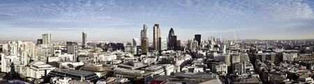 City of London one of the leading centres of global finance. This panoramic view includes Tower 42, Gherkin,Willis Building, Stock Exchange Tower, Lloyds of London, the Tower Bridge and Canary Wharf at the background. 스톡 콘텐츠