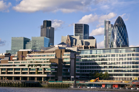 London skyline seen from the River Thames 스톡 콘텐츠