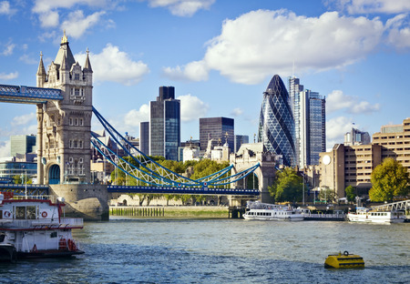 london skyline: Financial District of London and the Tower Bridge Stock Photo