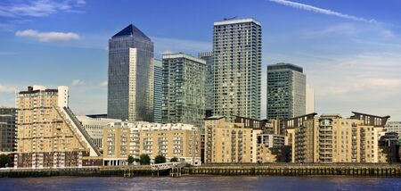 Canary Wharf, Famous skyscrapers of Londons financial district. This view includes Credit Suisse, Morgan Stanley, HSBC Group Head Office, Canary Wharf Tower, Citigroup Centre and new apartment houses