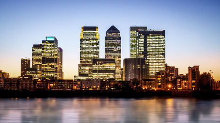 Canary Wharf at dusk, Famous skyscrapers of London's financial district at twilight. This view includes: Credit Suisse, Morgan Stanley, HSBC Group Head Office, Canary Wharf Tower, Citigroup Centre