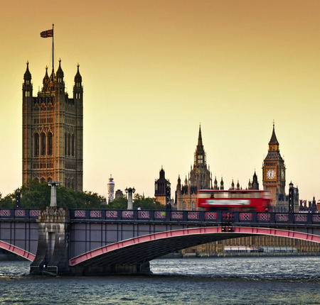 tower bridge: Houses of Parliament, Big Ben and Lambeth Bridge at dusk, London. Stock Photo