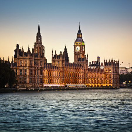 london skyline: Houses of Parliament and Big Ben in Westminster at dusk, London. Stock Photo