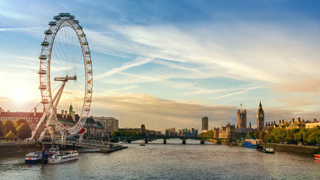 river county: London morning sunrise. London eye, County Hall, Westminster Bridge, Big Ben and Houses of Parliament.