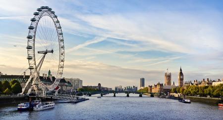 westminster bridge: London morning. London eye, County Hall, Westminster Bridge, Big Ben and Houses of Parliament.