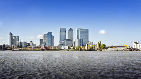 Canary Wharf view from Greenwich. This view includes: Credit Suisse, Morgan Stanley, HSBC Group Head Office, Canary Wharf Tower, Citigroup Centre, One Churchill PlaceBarclays and Riverside apartment. Stock Photo
