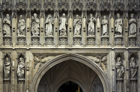 typically english: Detail of Westminster Abbeys statues, London, UK