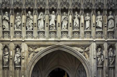 abbeys: Detail of Westminster Abbeys statues, London, UK