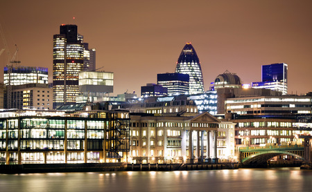 Financial District. City of London one of the leading centres of global finance.this view includes :Tower 42 Gherkin,Willis Building, and Stock Exchange Tower.