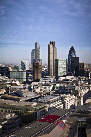london skyline: City of London one of the leading centres of global finance.this view includes :Tower 42 Gherkin,Willis Building, Stock Exchange Tower and Lloyds of London