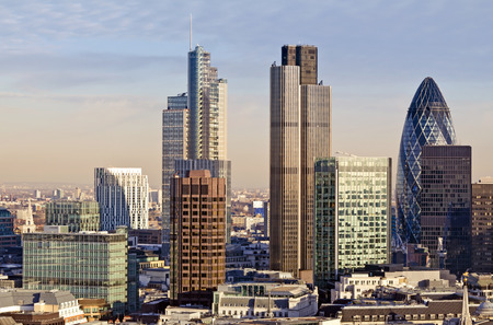 london skyline: City of London one of the leading centres of global finance. This view includes Tower 42 Gherkin,Willis Building, Stock Exchange Tower and Lloyds of London. Stock Photo