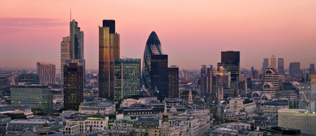 City of London one of the leading centres of global finance. This view includes Tower 42 Gherkin,Willis Building, Stock Exchange Tower and Lloyds of London and Canary Wharf at the background.