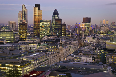 london skyline: City of London one of the leading centres of global finance.This view includes Tower 42 Gherkin,Willis Building, Stock Exchange Tower and Lloyds of London and Canary Wharf at the background. Stock Photo