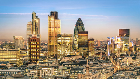 City of London one of the leading centres of global finance.this view includes :Tower 42 Gherkin,Willis Building, Stock Exchange Tower and Lloyds of London