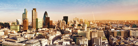 City of London one of the leading centres of global finance. This panoramic view includes Tower 42, Gherkin,Willis Building, Stock Exchange Tower, Lloyds of London, the Tower Bridge and Canary Wharf at the background. Standard-Bild