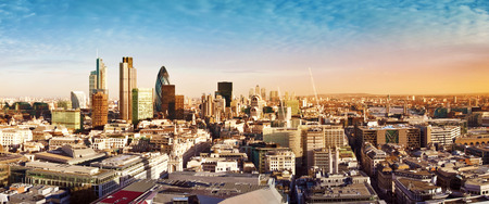 willis: City of London one of the leading centres of global finance. This panoramic view includes Tower 42, Gherkin,Willis Building, Stock Exchange Tower, Lloyds of London, the Tower Bridge and Canary Wharf at the background. Stock Photo