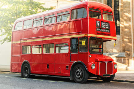 london street: Red Double Decker Bus in London, UK