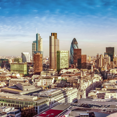 willis: City of London one of the leading centres of global finance. This panoramic view includes Tower 42, Gherkin,Willis Building, Stock Exchange Tower, Lloyd`s of London, the Tower Bridge and Canary Wharf at the background.