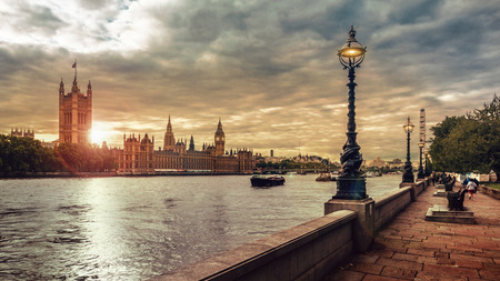Houses of Parliament, Big Ben and the River Thames, London