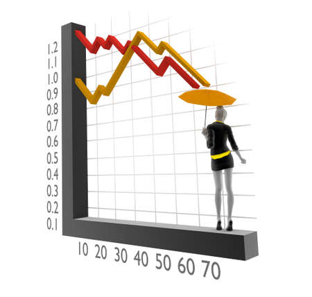 3d people woman with 3d chart photo