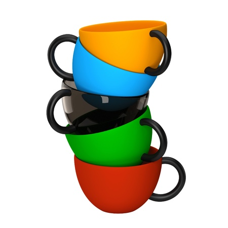 coffe cups with different collors Stock Photo