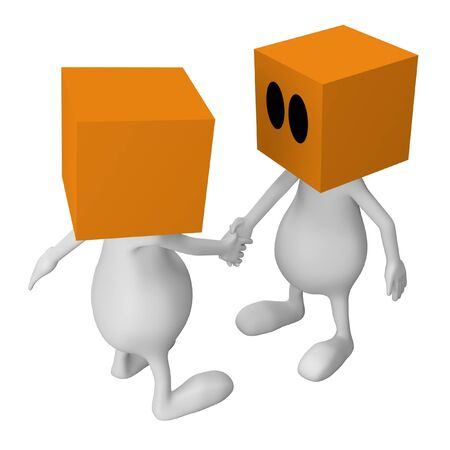 3d little cute people with cube orange head handshaking photo