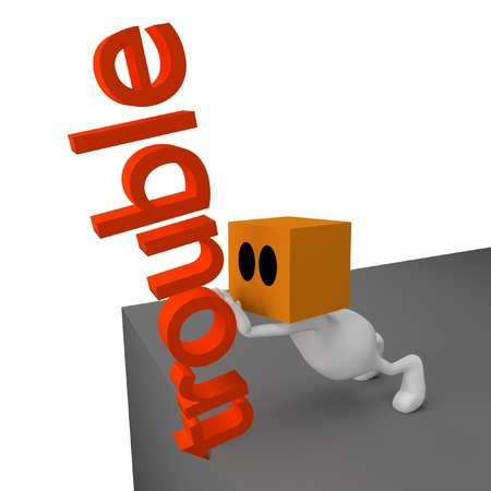 3d little cute people with cube orange head pushing word trouble over edge photo
